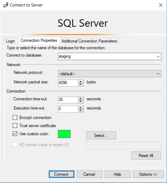 SSMS Connection Properties