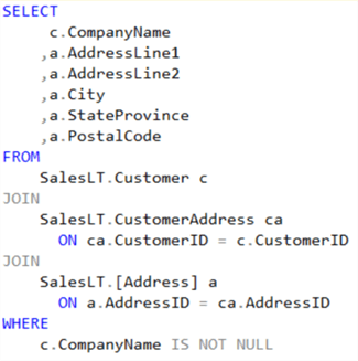 Extract data from the AdventureWorksLT Azure SQL Database