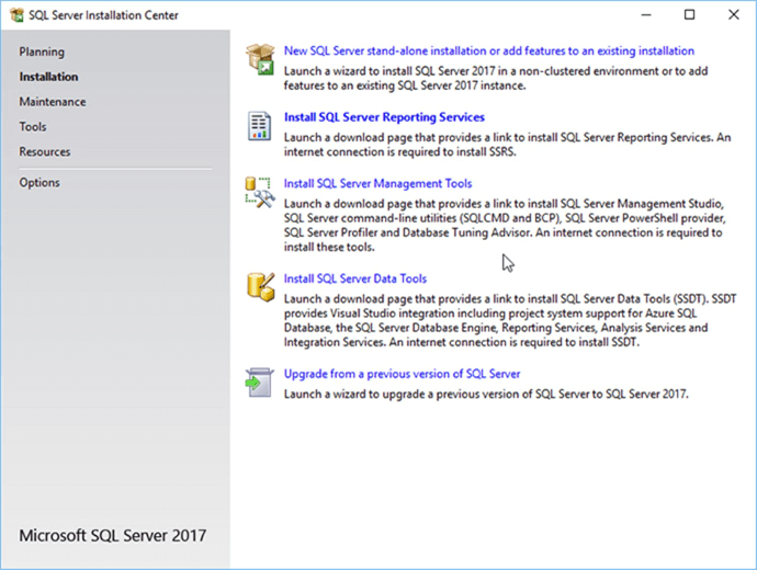 Screen Capture 6 - Description: SQL Server Installation Center.