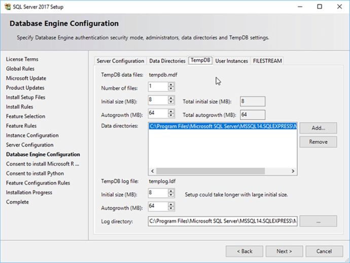 Screen Capture 14 - Description: Configuring Tempdb.