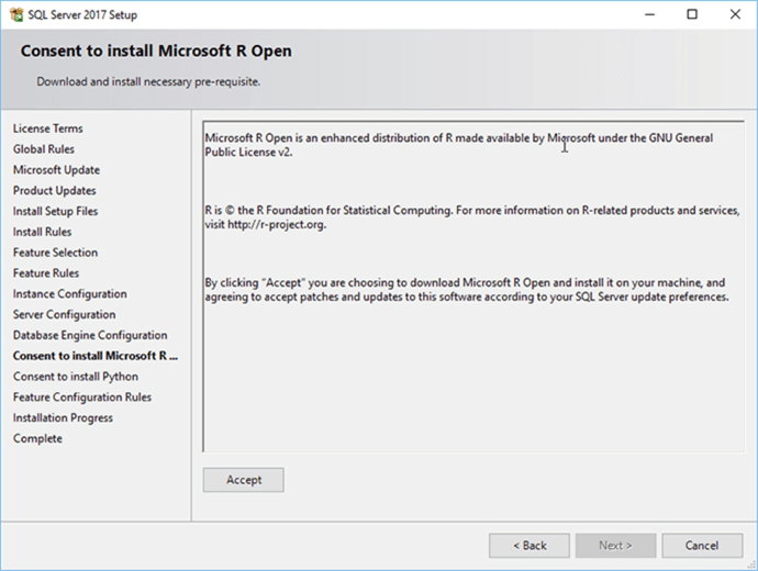 Screen Capture 17 - Description: You must give your consent to install Microsoft R Open and Python.