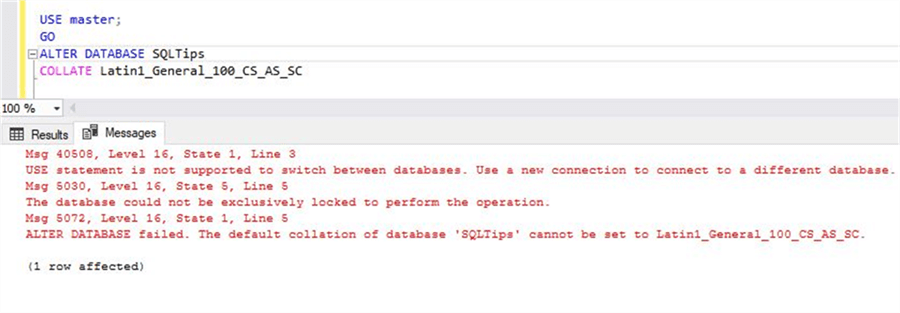 Error on changing Azure SQL DB Collation