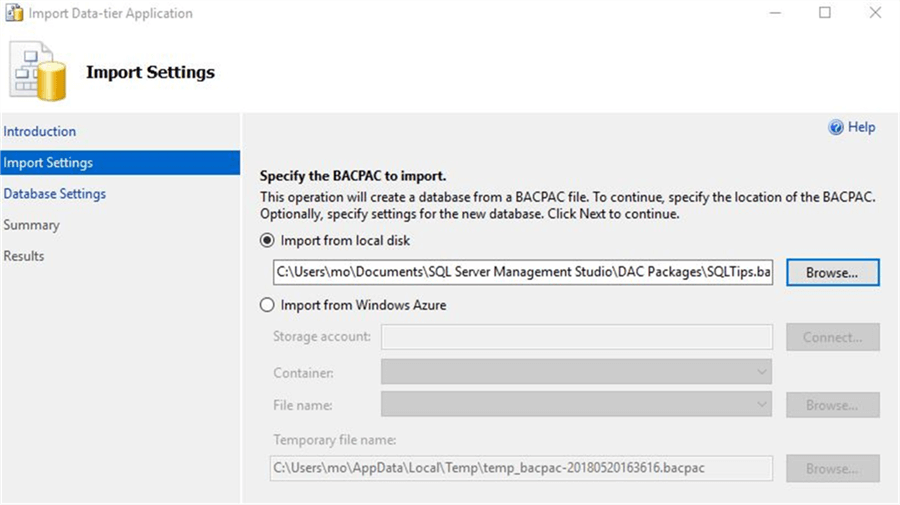 Import BACPAC file