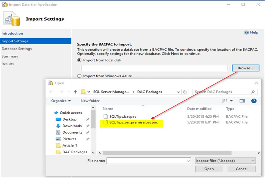 Import correct BACPAC file on Azure SQL instance