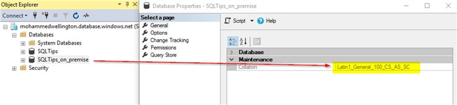 How to change an Azure SQL Database Collation