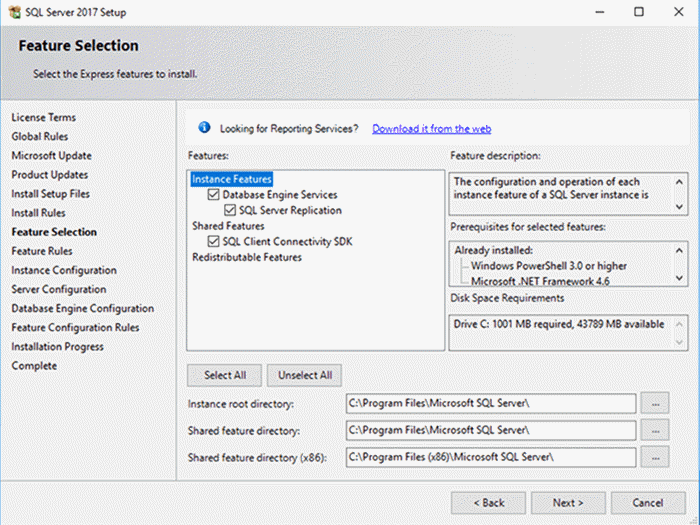 SQL Server Express Installer - Description: This are the features available on SQL Server Express.