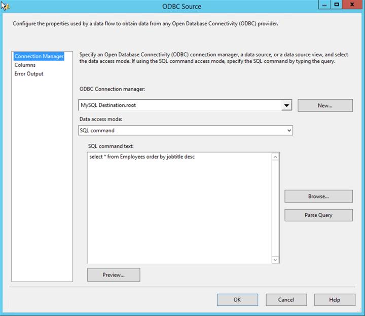 Export MySQL data to Excel using SQL Server Integration Services