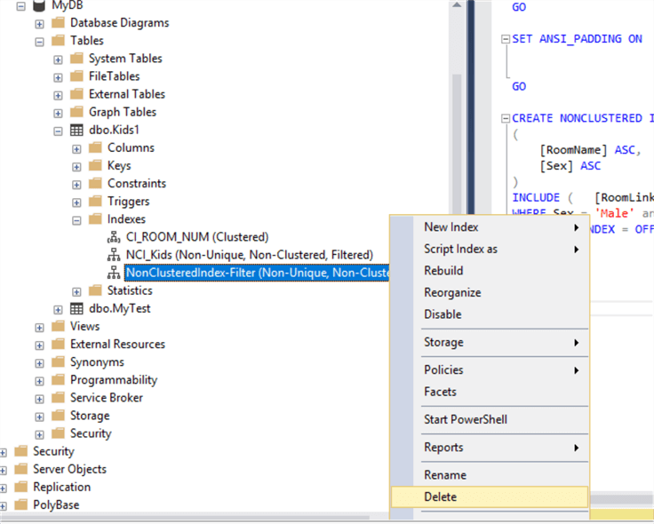 sql server indexes