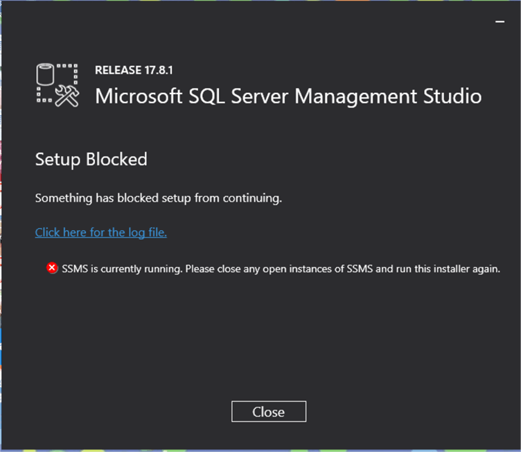 SSMS upgrade error