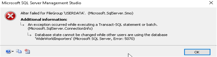Database properties SSMS 17.8.1 - Enable AutoGrow All Files error