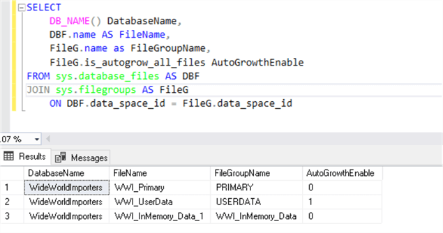 Database properties SSMS 17.8.1 - AutoGrow All Files Property