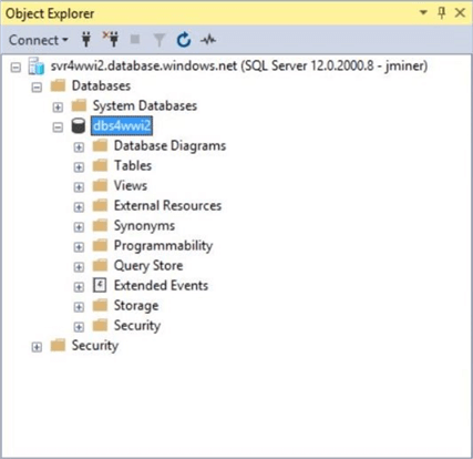 Object explorer view of empty database named dbs4wwi2.