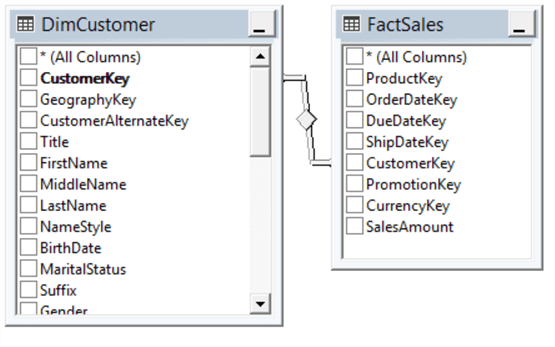 dimcustomer and factsales tables