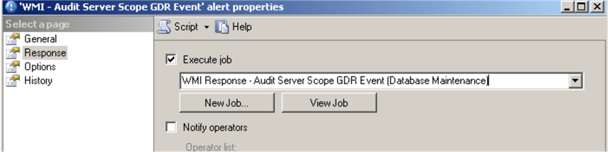 Server Scope GDR Event alert response
