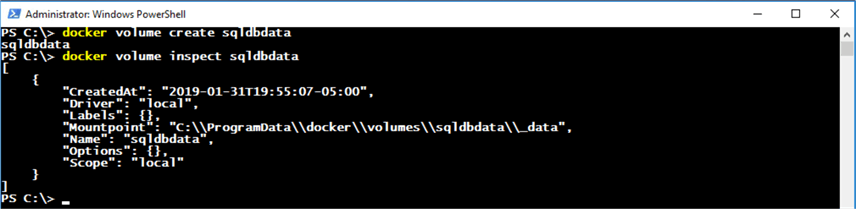 Docker volume inspect command in PowerShell