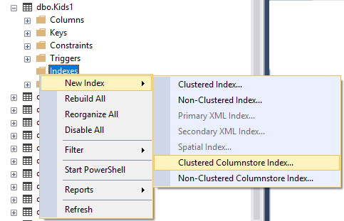 clustered columnstore index
