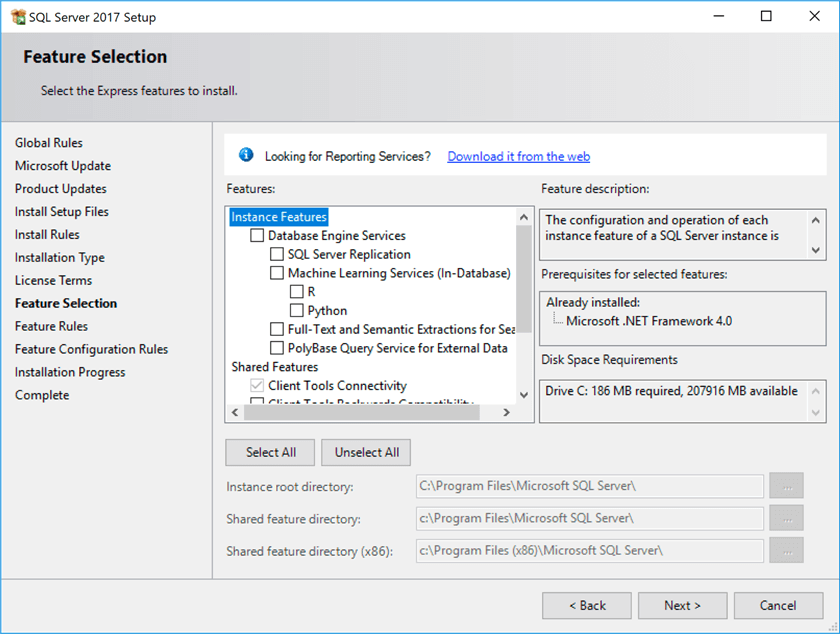 SQL Server 2017 installer - Feature Selection