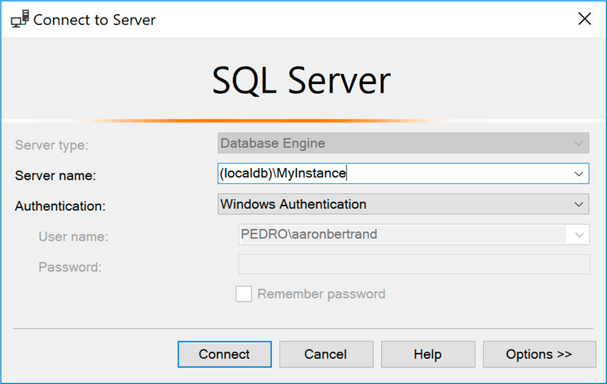 SSMS Connection dialog