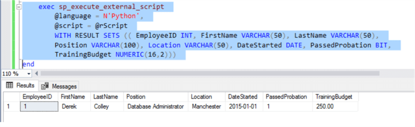 Employees results:  Result set showing employees results in SQL Server.