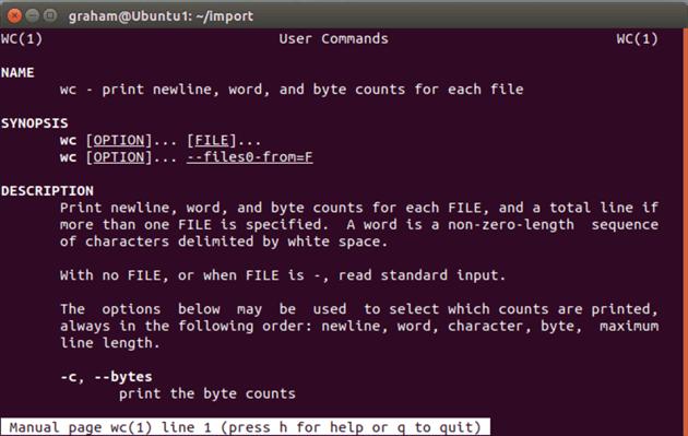 wc user commands