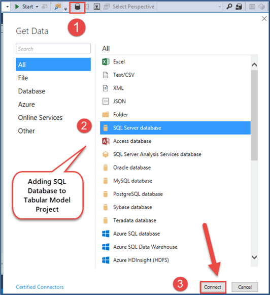 import sql server database