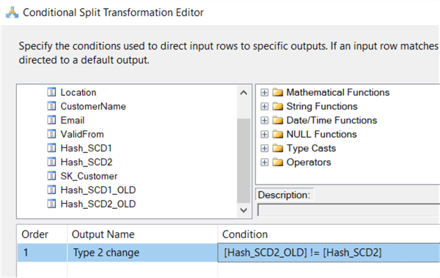 change type 2 conditional split