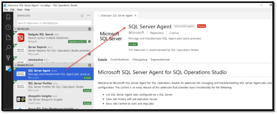 Image 2: SQL Server Agent Extension help page