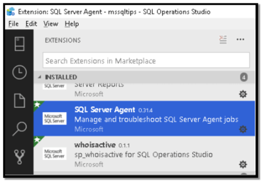 Image 4: SQL Server Agent Extension in Installed section