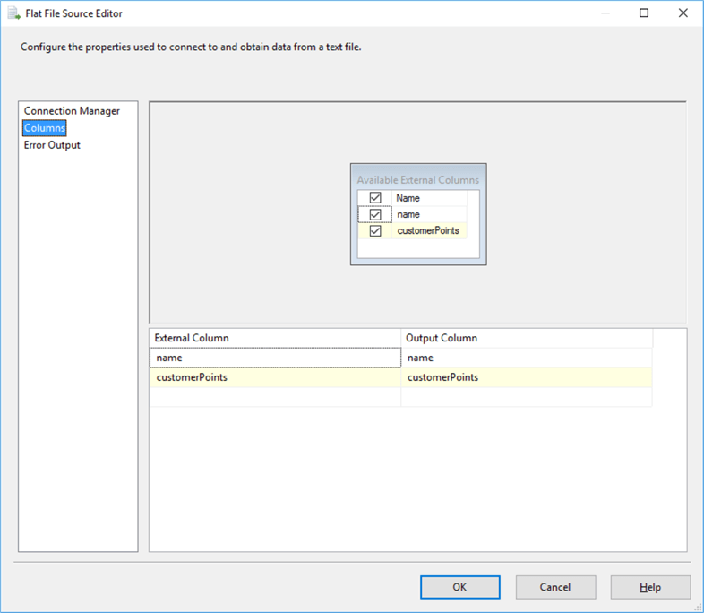 Taking a flat file source editor for getting a file records as input.