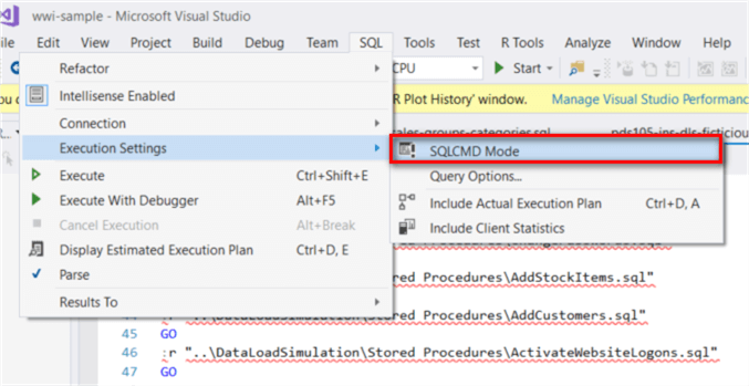 Drill down into SQL-> Executions Settings -> SQLCMD mode. We can select SQLCMD mode and the syntax errors disappear.