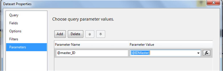dataset configuration with a parameter