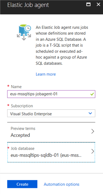 Create Elastic Job Agent in Azure Portal.