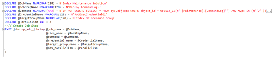 Create job step - Deploy CommandLog