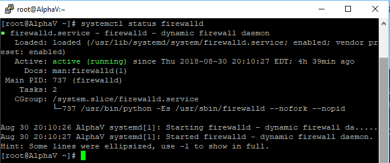 check the status of the firewall daemon
