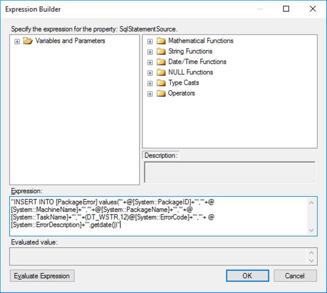 Capturing SQL Server Integration Services Package Errors