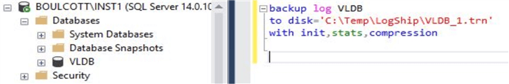 backup log command