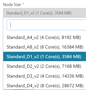 available options for node size