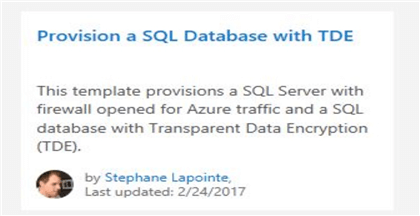 provision tde sql database template