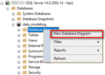 "The image illustrates how to select ""New Database Diagram"" from the Object Explore panel. We first expand the ""database"" node and then right-click on ""Database Diagram"" menu. In the pop-up context window, select the menu item ""New Database Diagram""."
