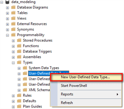 "The image illustrates a process to select the ""New User-Defined Data Type"" menu item. Drill down into the menu item ""Databases -> data_modeling -> Programmability -> Types -> User-Defined Data Types"", then right-click on the item ""User-Defined Data Types"", select the menu item ""New User-Defined Data Type"" in the context menu."