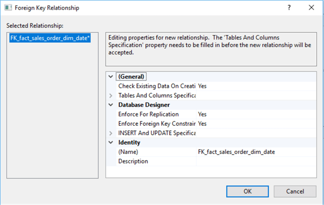 "The image illustrates a new pop-up window to edit properties for new relationship. Here is a message in the window: ""Tables and Columns Specification"" property needs to be filled in before the new relationship will be accepted. But this is not import one at this step."