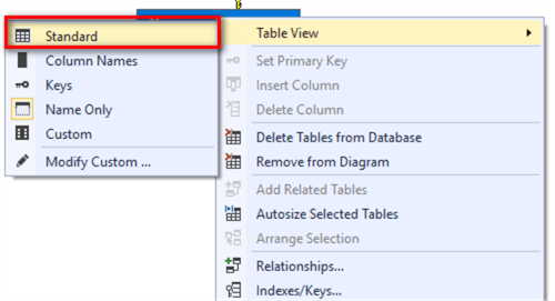 "The image illustrates a process to select the ""Standard"" menu item in the Table View drop menu."
