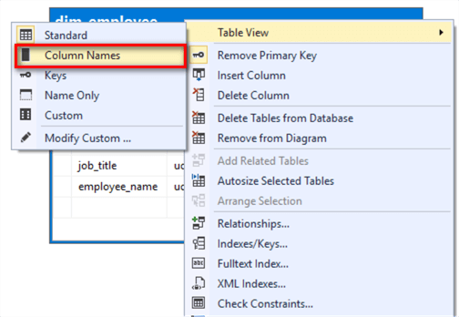 "The image illustrates a process to select the ""Column Names"" menu item in the Table View drop menu."