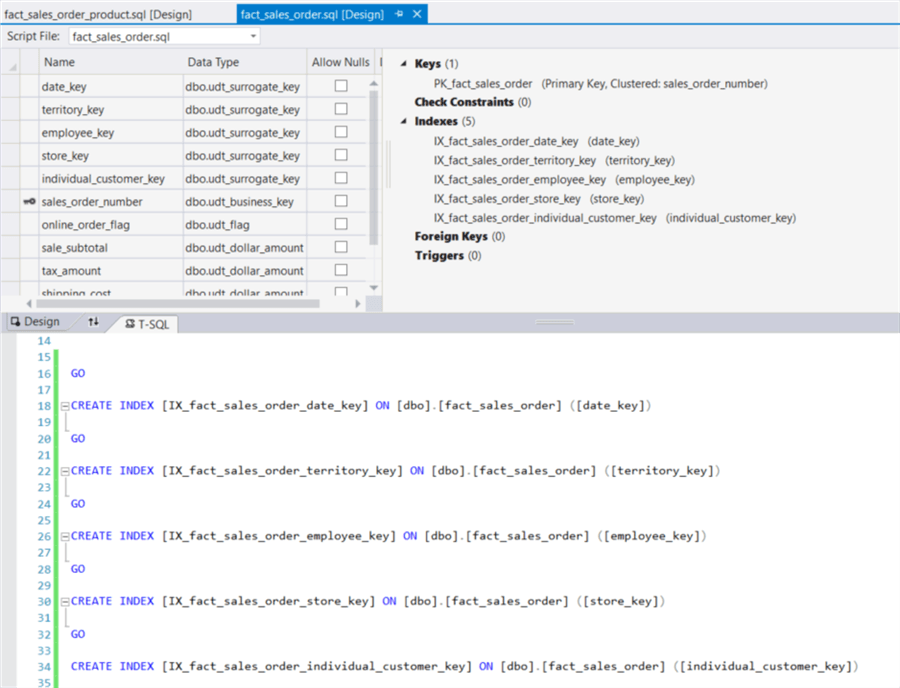 The image shows the code panel where we can verify these auto-generated SQL commands.