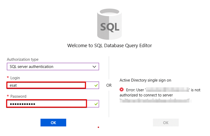 connect to azure query editor