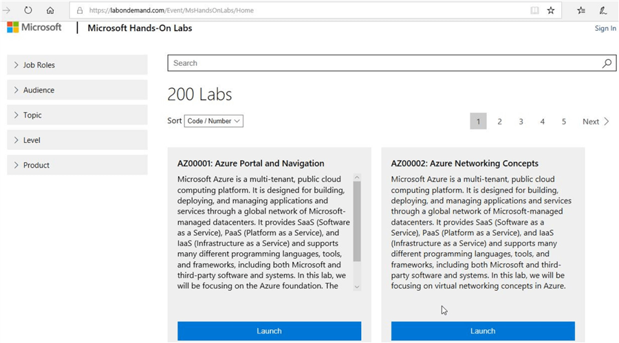 microsoft hands-on labs list