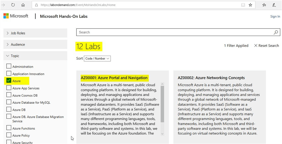 microsoft hands-on labs for azure