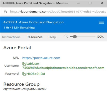 microsoft hands-on labs azure portal