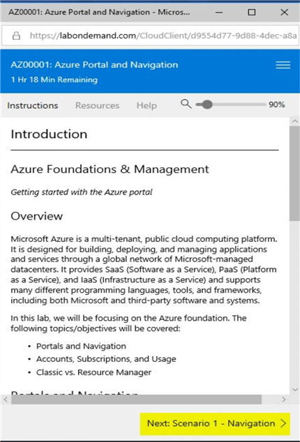microsoft hands-on labs azure navigation