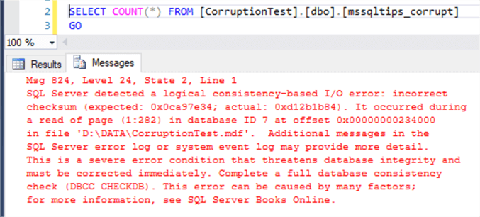 sql server error message